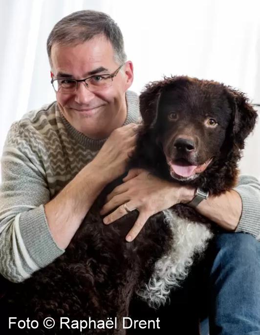 nieuws, striptekenaar Arie van Vliet met hond Teun