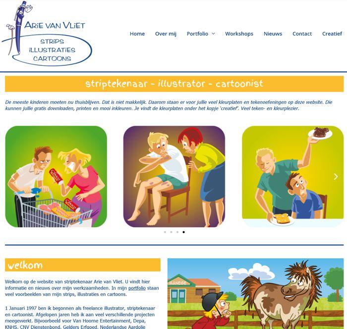 Striptekenaar Arie van Vliet website