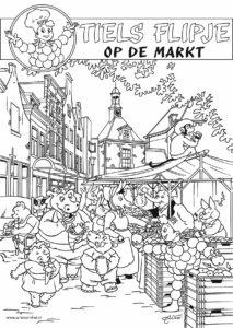 kleurplaat Flipje markt